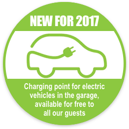 New for 2017 - Charging point for electric vehicles in the garage, avaible for free to all our guests